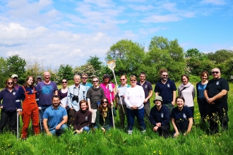 Gwent Wildlife staff at Bridewell Common