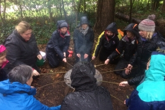 Forest school teacher training - toasting marshmallows