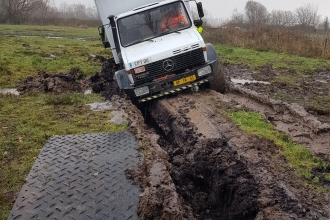 An M4 survey  Unimog damaged Barecroft Common nature reserve